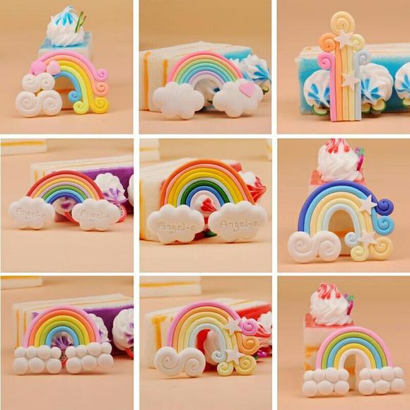 3d情景蛋糕装饰摆件软陶云朵彩虹 多款混装100个 特价