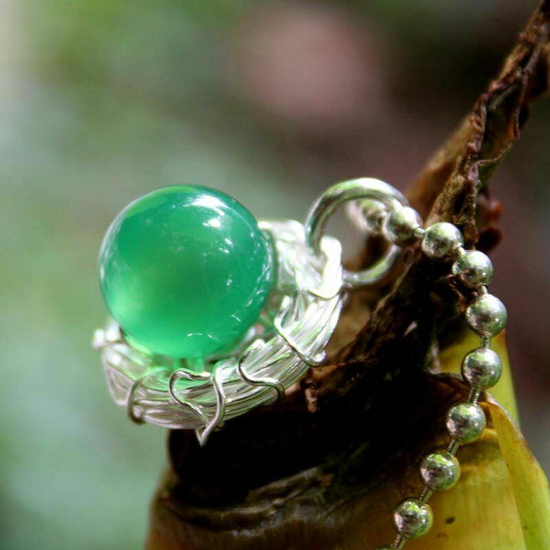 原创手工纯银925银丝编织鸟巢绿玛瑙鸟蛋圆珠锁骨项链