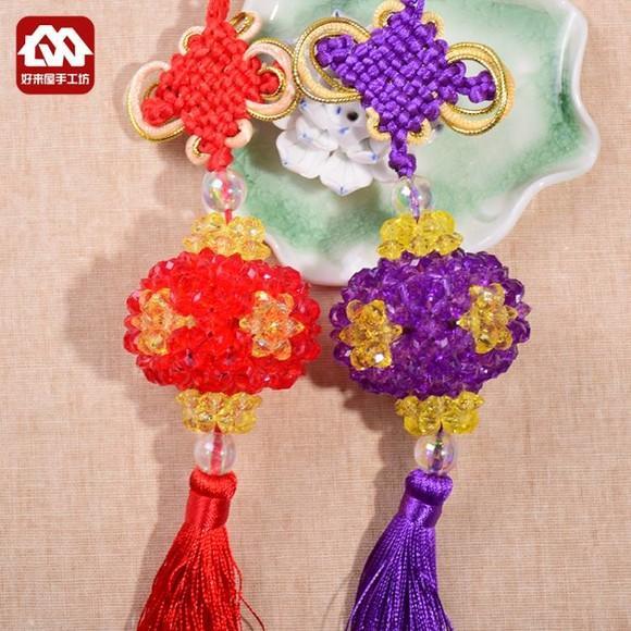仿水晶灯笼挂件饰品 车轮珠子材料包diy手工串珠编织汽车装饰品