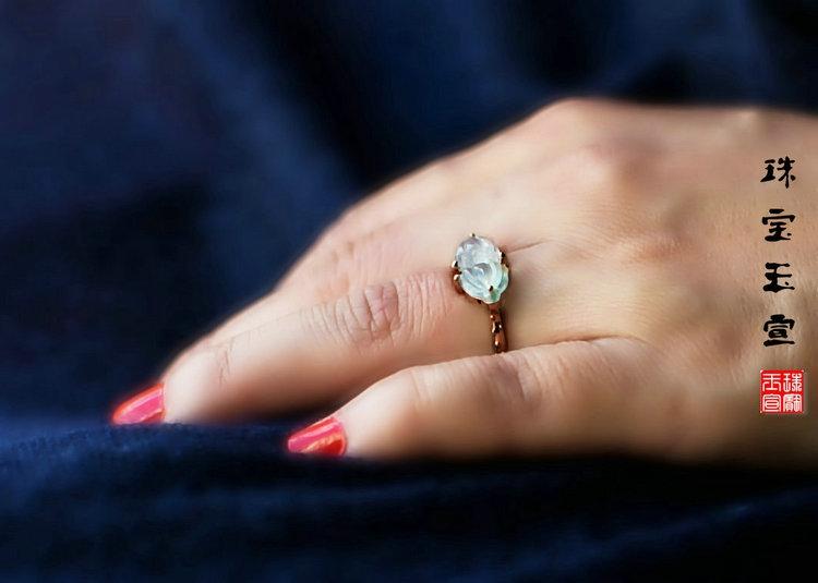 a货翡翠无色冰种莲蓬镶嵌18k玫瑰金戒指原创设计佳偶天成