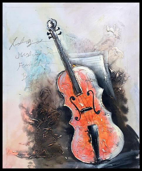 客厅挂画玄关装饰画欧式小提琴手绘油画