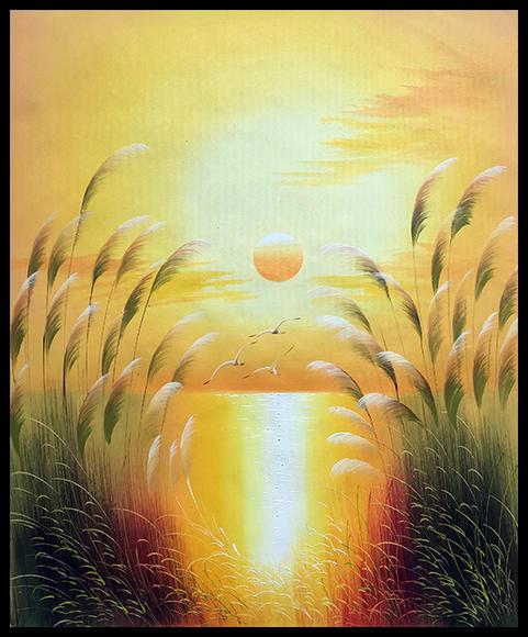 日落海边手绘风景油画客厅装饰画玄关挂画