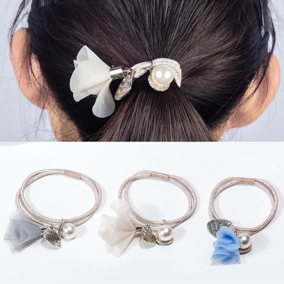 韩国韩版发饰 时尚珍珠花朵双层发圈头绳