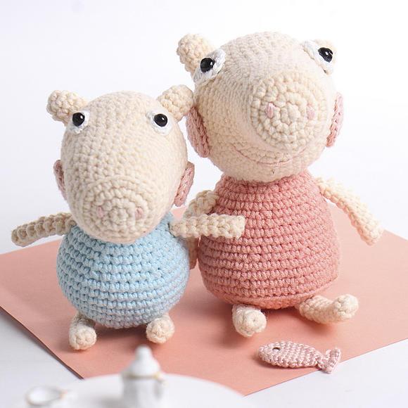 【小猪佩奇】阿卡手工钩针玩偶 diy娃娃编织材料包儿童布艺玩具