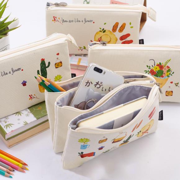 韩国创意简约女生笔袋 小清新三层大容量可爱帆布文具