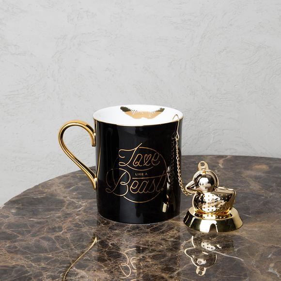 【有温度的家】野兽派 唇印马克杯 精致描金骨瓷杯子