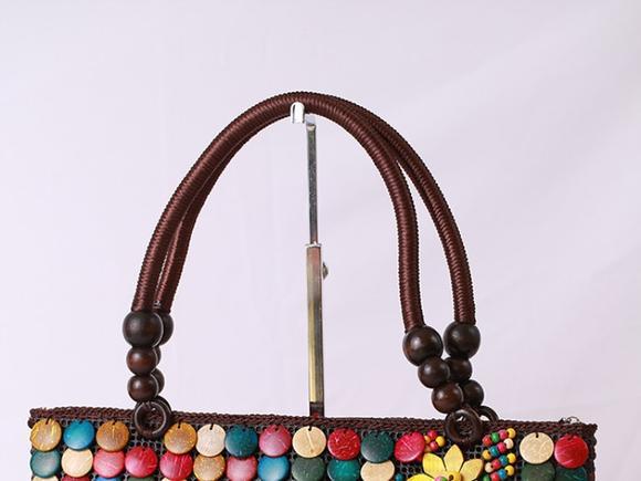 海南民族风天然复古特色椰壳手提包女包手工原色椰壳