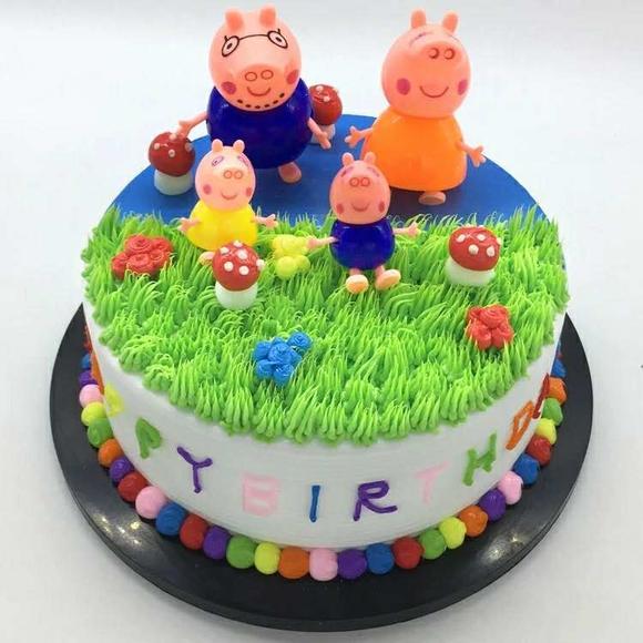 卡通创意定制小猪佩奇儿童生日蛋糕成都三环内免费