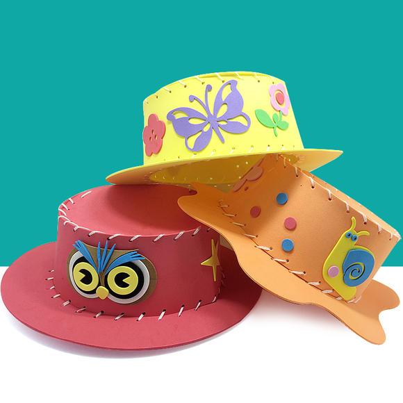 儿童diy帽子 eva海绵手工制作材料包 y014