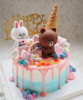 布朗熊和可尼兔兒童生日蛋糕 零添加 動物奶油水果夾層蛋糕限昆明