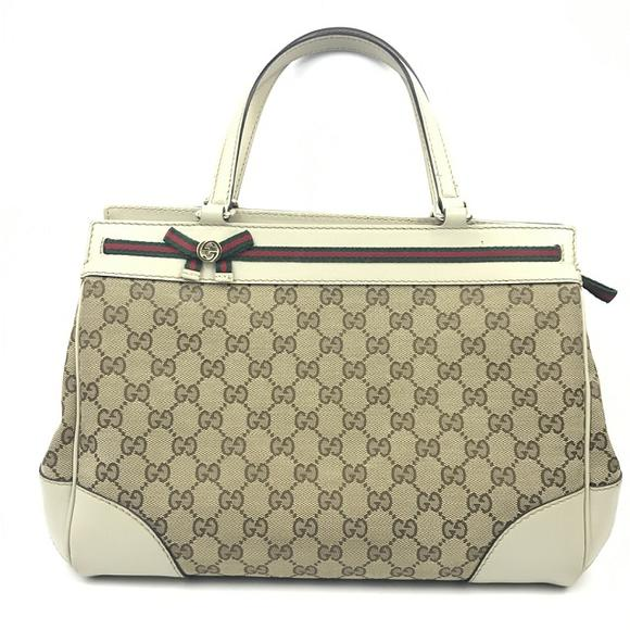 二手9新 奢侈品正品 gucci古奇白色经典花纹女士手提包(支持分期付款)