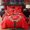 欧式简约纯棉磨毛婚庆四件套大红色全棉-金玉良缘 商品缩略图0