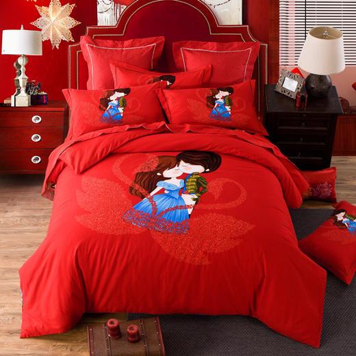 纯棉婚庆磨毛床单四件套-甜密爱人 商品图0