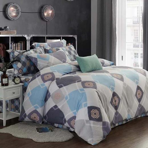 天丝磨毛床单四件套-蓝梦安然 商品图0