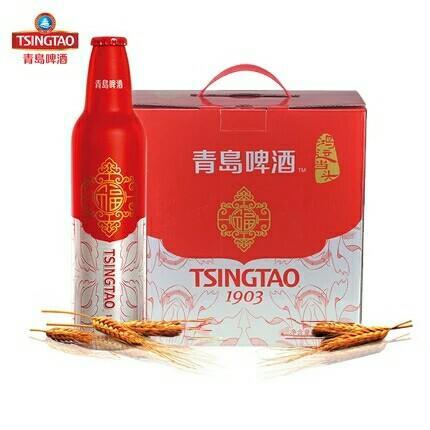 青岛啤酒 鸿运当头啤酒473ml*8瓶高端春节喜庆礼盒 新春送礼啤酒(不含