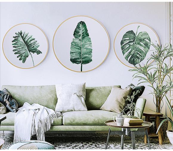 现代简约装饰画 北欧风装饰ins家居客厅玄关实木圆形