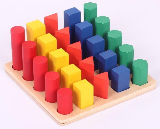 蒙氏教具蒙台梭利教具蒙特梭利教具婴幼儿早教益智玩具几何体阶梯