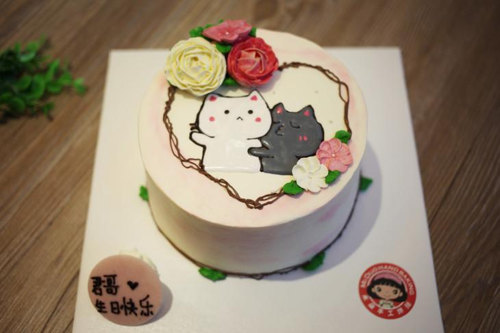 款式图案定制|可爱小猫-韩花-23蛋糕,如图款式,新鲜水果,动物性淡奶油