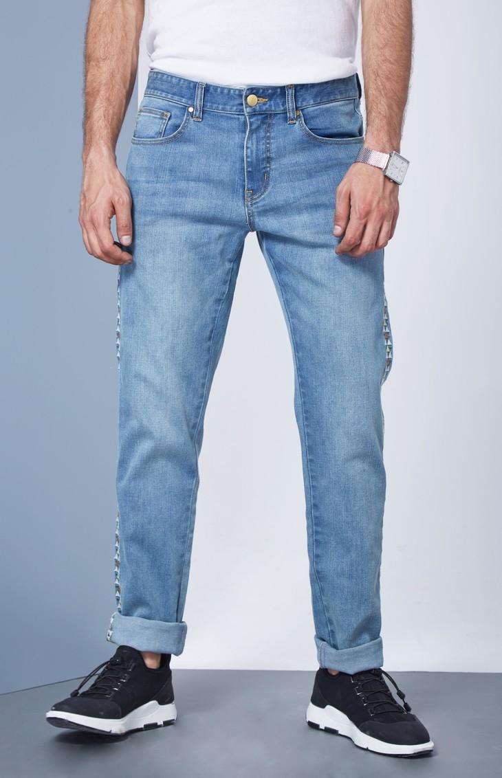 镭射花纹修身牛仔裤