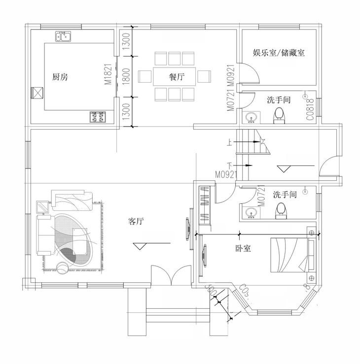 三层别墅设计图纸13.7x11.4米 新农村自建房施工图二