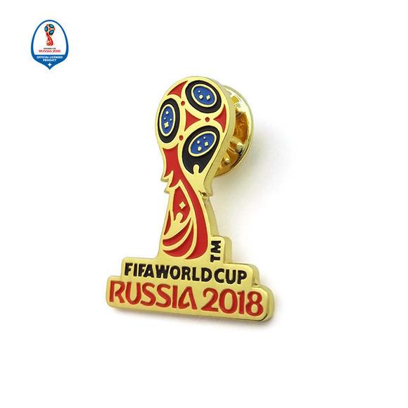 正版授权 2018年俄罗斯世界杯足球 纪念会徽立体彩色胸针徽章