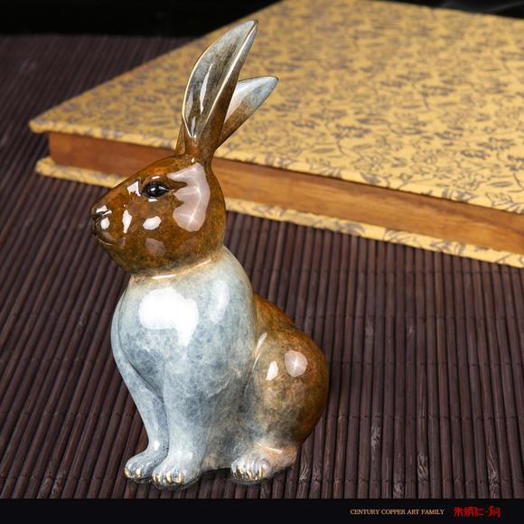 朱炳仁铜 十二生肖彩色金兔迎春创意铜雕摆件 家居饰品工艺品正品