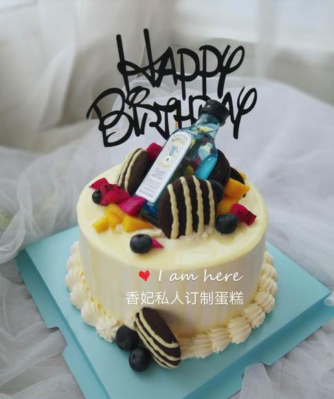 创意酒瓶曲奇蛋糕动物奶油生日蛋糕可定制嘉兴同城图片