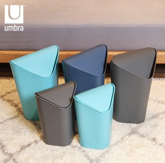 加拿大进口umbra创意转角垃圾桶 摇盖式家用厨房客厅