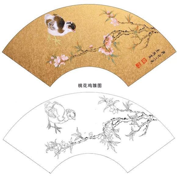 扇面白描底稿-王东兴工笔花鸟-桃花鸡雏图-a332