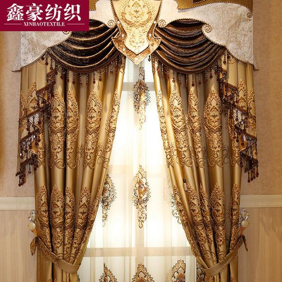 欧式豪华水溶绣花窗帘 浮雕镂空卧室客厅 窗帘布厂家