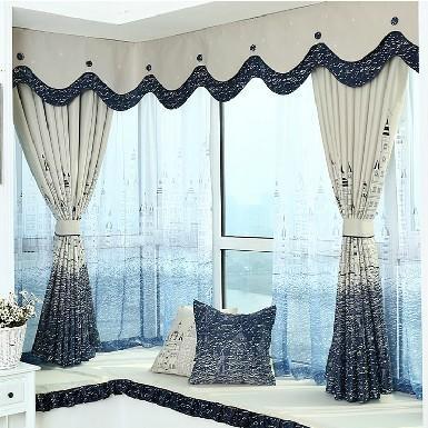 新款窗帘 城堡图案 印花遮光窗帘 客厅卧室书房专用 可定制 批发