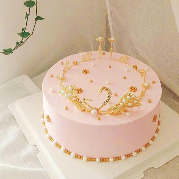 生日蛋糕装饰 天鹅皇冠 女孩公主 蛋糕装饰摆件 买10送1
