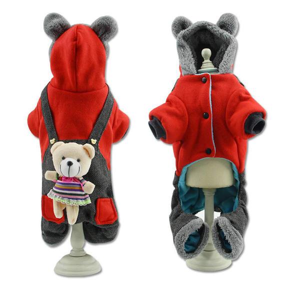 秋冬宠物服装 立体小熊背带裤四脚卫衣
