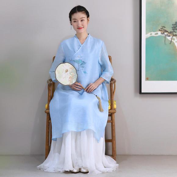 佛笑缘之语冰 手绘丝麻中式上衣裙 淡蓝色