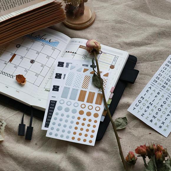 信的恋人 小清新基础手帐贴纸套装多色便携pvc日记装饰胶带3枚入
