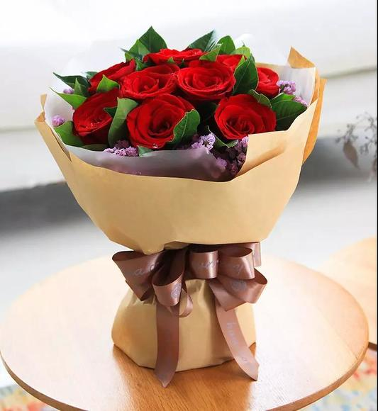 玫瑰礹c.??$9.?_【紫金格】9支红玫瑰花束
