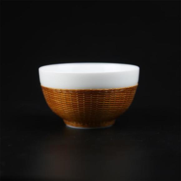 瓷胎竹编禅定杯
