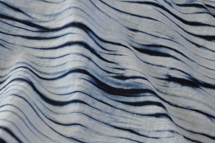蓝染流水纹棉麻平纹布料手工植物染草木染手作面料匠心精制