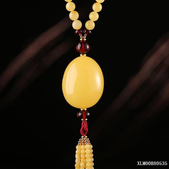 原创蜜蜡鸡蛋形圆珠项链