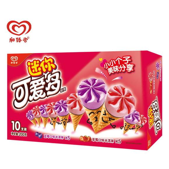 迷你可爱多甜筒 草莓&蓝莓口味冰淇淋200克