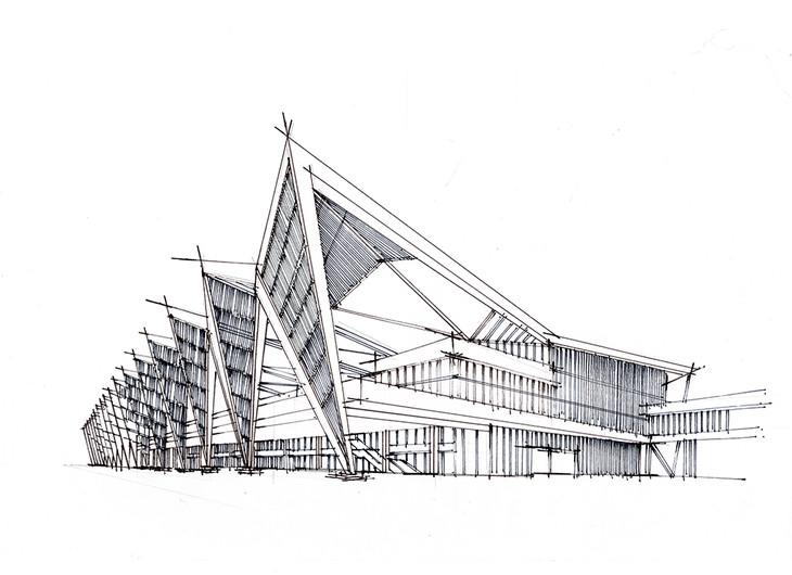 [转载]青岛邮轮母港建筑手绘步骤图含马克