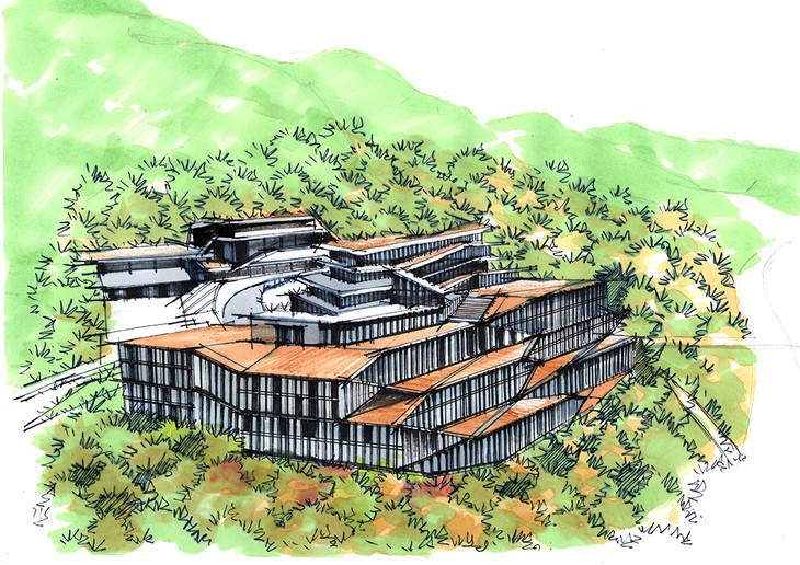 韩国connectone建筑手绘线稿图昆明手绘培训带详细步骤图与方案解析