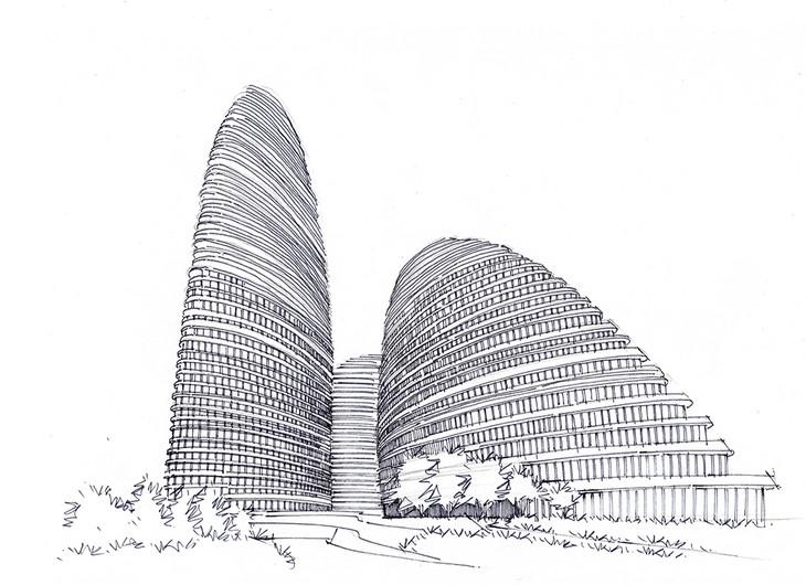 望京soho建筑手绘图可临摹带马克昆明手绘培训