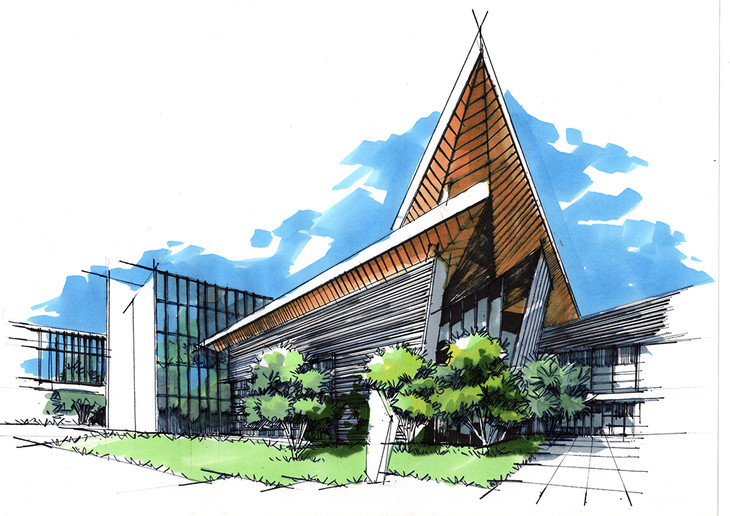 成都郎酒集团总部建筑手绘临摹图昆明手绘培训带步骤