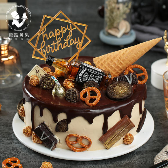 橙路贝果酒瓶网红蛋糕奶油巧克力生日蛋糕创意杭州宁波同城配送图片