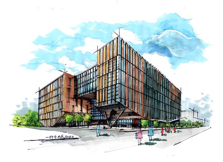 asu法学院beus中心建筑手绘临摹图带步骤青岛手绘培训