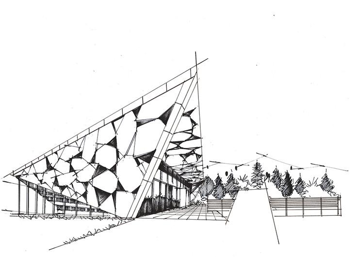 1湖畔餐厅建筑手绘临摹图带马克步骤青岛