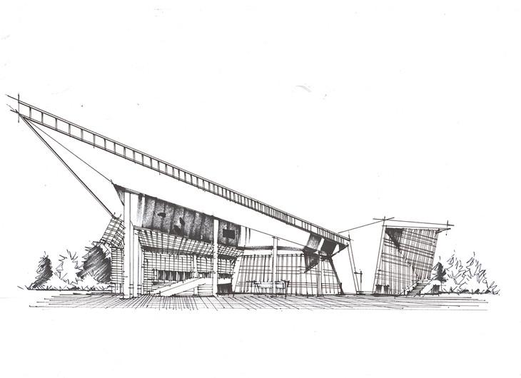 江苏周氏文化体育中心建筑手绘临摹作品青岛手绘培训