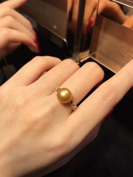爱心金珠戒指