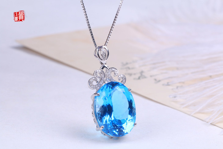 蓝色大海的秘密,瑞士蓝托帕石吊坠【海水之灵】18k金镶嵌钻石|总重:8.